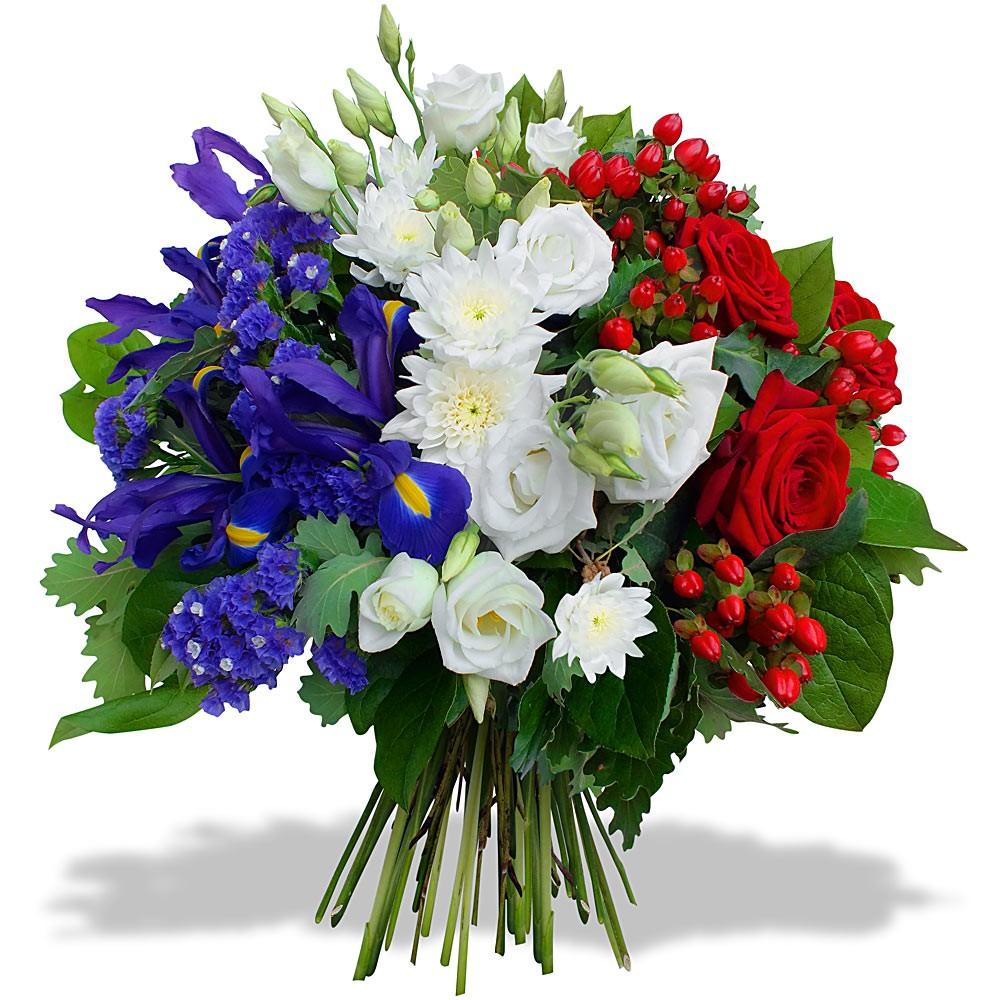 Gerbe bleu blanc rouge pivoine etc for Envoi de fleurs