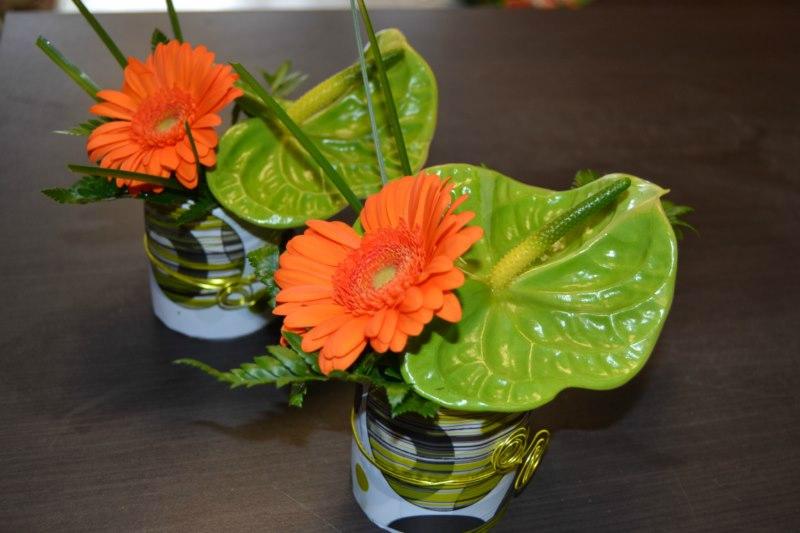 composition florale centre de table anniversaire - pivoine etc