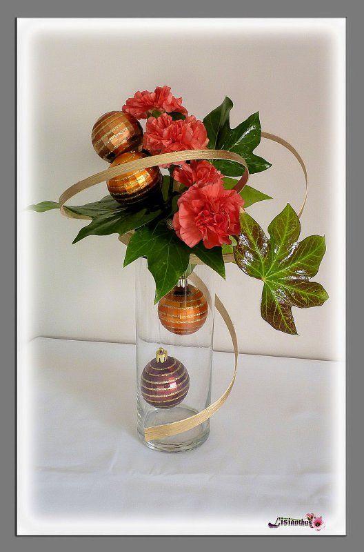 Composition fleurs noel pivoine etc - Art floral centre de table noel ...