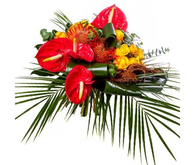 Livraison fleurs tropicales pivoine etc for Bouquet exotique