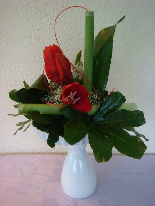 Composition florale amaryllis pivoine etc for Composition florale exterieur hiver