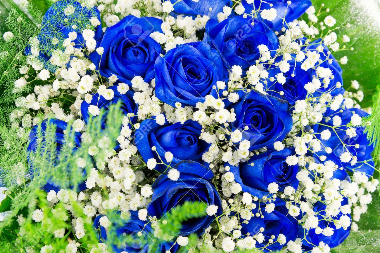 Bouquet fleurs bleues - pivoine etc