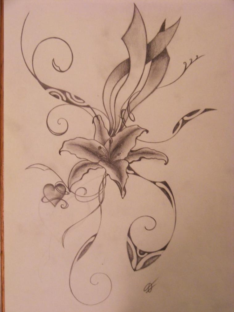 Tatouage de fleur exotique